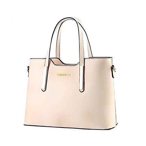 ZUNIYAMAMA PU Leder Schultertasche Oben-Handle Handtaschen für Frauen SCHWARZ Beigh weiß