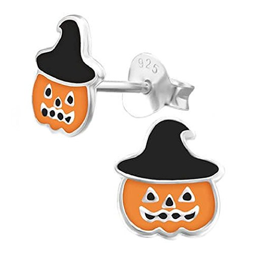 rringe Kürbis Halloween Hut Hexe Black & Orange Sterling Silber 925 (Halloween-hexe-hüte)