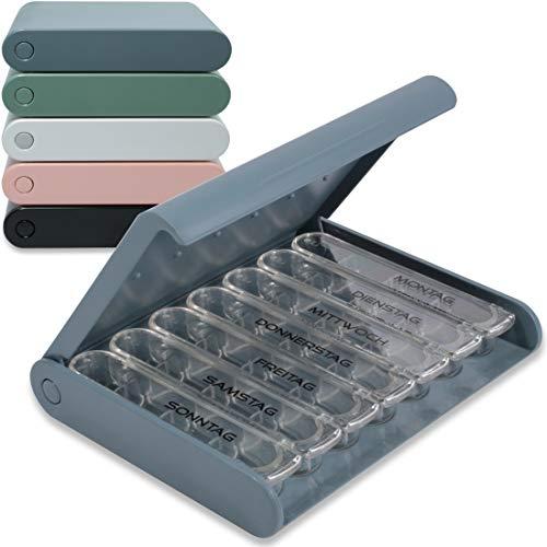 24/7 MEDICASE Dänische Design Pillendose für 7 Tage - Mittelgroße Dosierungsbehälter (Staub Blau)