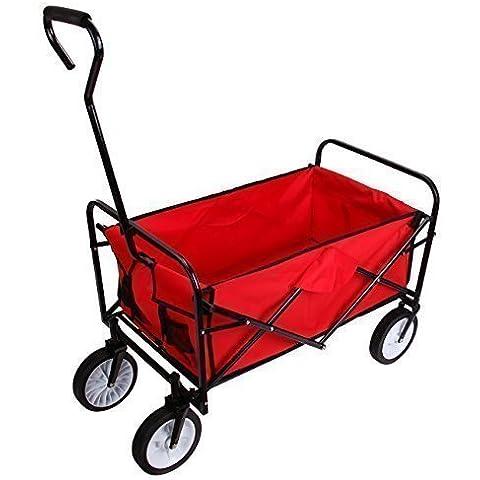 Ridgeyard Cesta de la compra plegable plegable Utilidad Tire A lo largo del depósito de vagones Jardín Transportwagen Beach Aire libre Rojo
