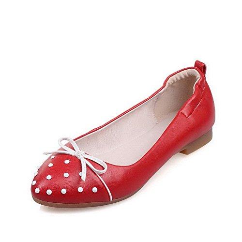Allhqfashion Baixo Toe Salto Senhoras Bombas Inserido Rodada Sapatos Vermelhos Puxar pwqda7x