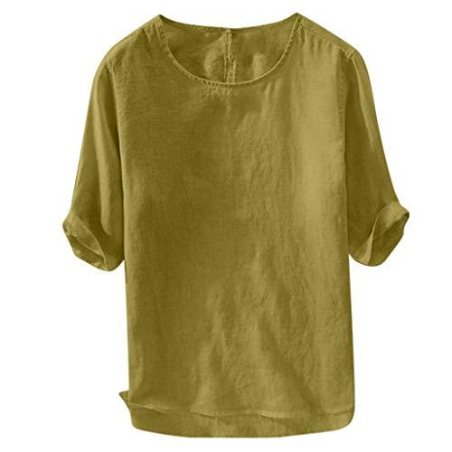 �ufiges weiches Loses T-Shirt Lose Oansatz Oberseiten Breathable kurzes Hülsen-Hemd(Medium,Gelb) ()