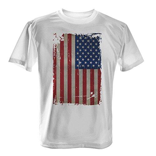 USA Flagge Vintage Grunge längs - Herren T-Shirt von Fashionalarm | Fun Shirt Fahne Banner US Vereinigte Staaten von Amerika Weiß