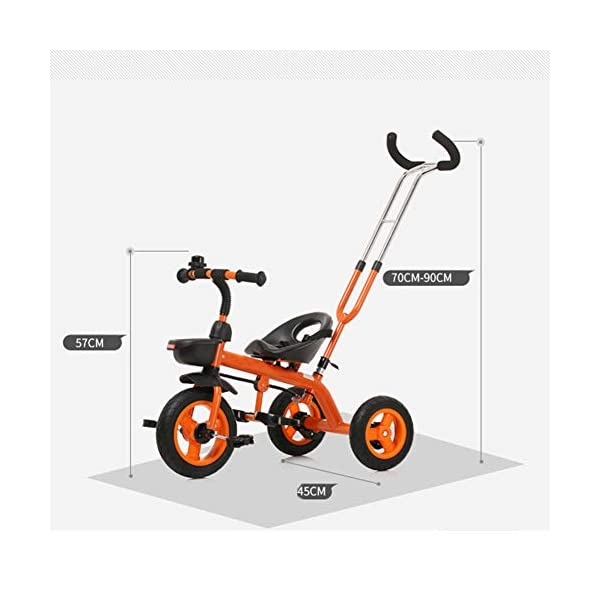 GSDZSY - Baby Child Tricycle,with Removable Push Handle Bar,Shock Absorption EVA Wheel,With Seat Belt And Bell,1.5-5 Years,White GSDZSY ❀ Material: high carbon steel + ABS + EVA, suitable for children aged 1-5 ❀ Features: The push rod can be adjusted to the height, can control the direction, suitable for people of different heights; the seat can be adjusted to facilitate the use of children of different heights; the foldable center footstool with seat belts and brakes ❀ Performance: high carbon steel frame, sturdy and durable; EVA wheel anti-slip, wear-resistant, suitable for all road conditions, good shock absorption, seat with soft material, baby ride more comfortable 4