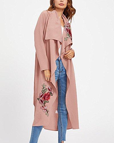Femme Ladies Vintage Broderie Longues Manche Manteau Veste Blouson Occasionnel Manteau Manches Cardigan pink