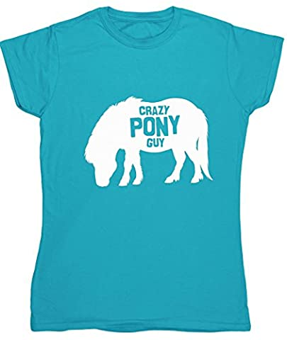 HippoWarehouse Crazy pony guy womens fitted short sleeve t-shirt