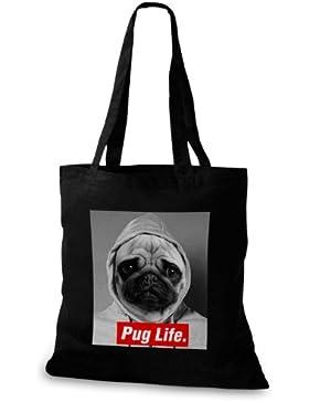 StyloBags Jutebeutel / Tasche Pug Life v3