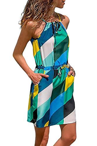 Keephen Damen Strandkleid Böhmisches Kleid Ärmelloses Verstellbares Spitzenkleid