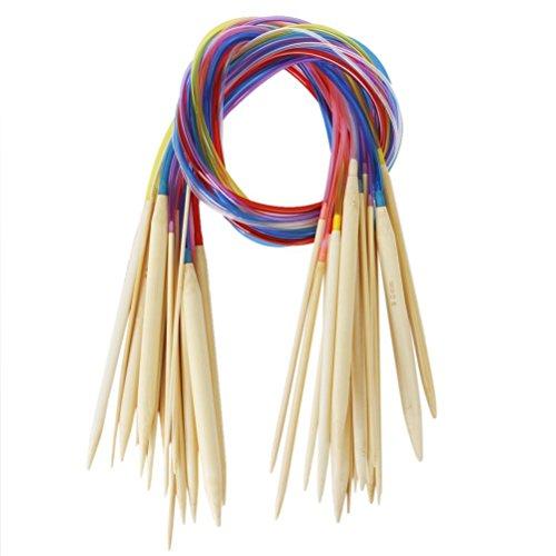 WINOMO 18 coppie di colorati tubo circolare sbiancato ferri da maglia di bambù (2.0 mm a 10 mm)