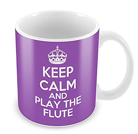PURPLE KEEP CALM and Play the Flute Mug Coffee Cup