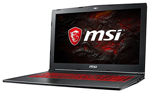 MSI GV62 7RE-1625DE (39,6 cm/15,6 Zoll) Gaming-Laptop (Intel Core i7-7700HQ, 16GB RAM, 128 GB SSD + 1 TB HDD, Nvidia GeForce GTX 1050Ti, Windows 10 Home) schwarz
