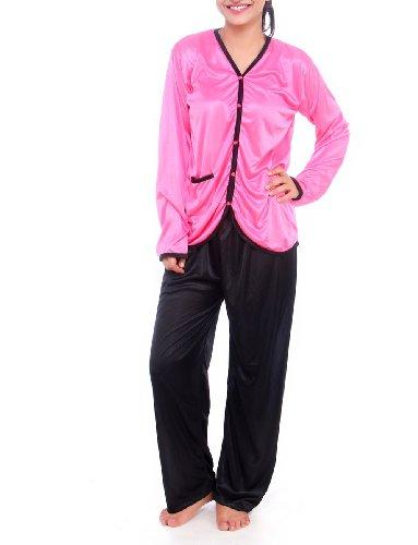Fasense Womens Satin Nightwear ,Black And Pink ,Free Size