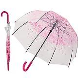ADRIANO PORCARO Auf-Automatik Regenschirm Transparent - durchsichtig, windfest, leicht - für Hochzeit, Schule, Freizeit - Damen, Mädchen und Kinder (Pink)