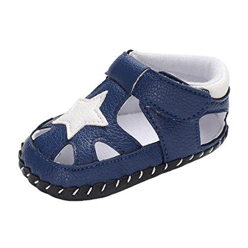 Babyschuhe cinnamou Sommer Sandale mit Weichen Sterne Krippe Schuhe Baby Leder Lauflernschuhe Junge Mädchen Kleinkind 0-6 Monate 6-12 Monate 12-18 Monate (6~12 Monate, Blau)