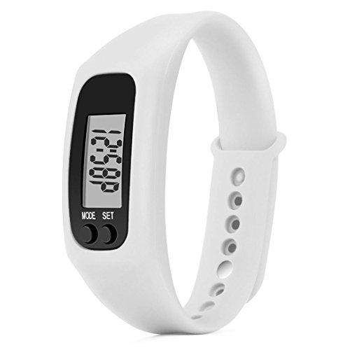 Y56Schrittzähler/Fitness-Armband, für Kinder/Herren/Damen, Zeit/Kalorienzähler/Digitale LCD-Anzeige/zurückgelegte Distanz, weiß