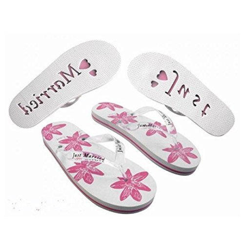 X45 Damen Groß UK 7–8 EU 40–41 Honeymoon Flip Flops Weiß & Pink Floral Design