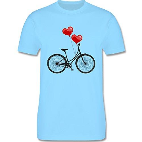 Vintage - Fahrrad Herz Luftballons - Herren Premium T-Shirt Hellblau