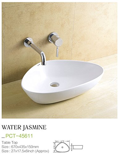 Plano Designer White Tabletop Washbasin WaterJasmine