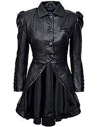 Kristen Tailcoat Ladies Real Leather Gothic Victorian Steampunk Aristocrat Black Jacket Coat 5003