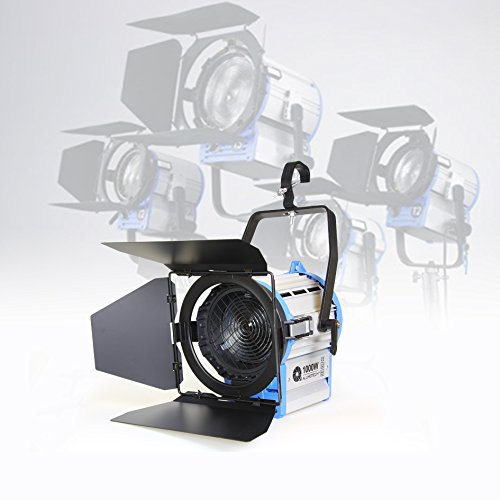 Alumotech 1000watt Pro Movie Fresnel proyector de tungsteno iluminación Studio Video + Bulb + Barndoor