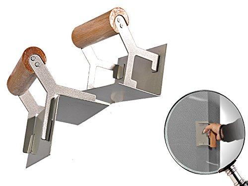 2 - teiliger Satz Eckspachtel mit 90° Winkel für Innen und Außen mit polierten Holzgriffen