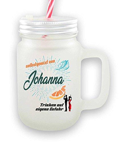 Henkelglas mit eigenem Namen / z.B. selbstgemixt von Johanna (bzw. Wunschname) - Trinken auf eigene Gefahr / Mason Jar Glas für Smoothies, Limos und sonstige Sommerdrinks / mit Deckel und Strohalm - Obst-bond