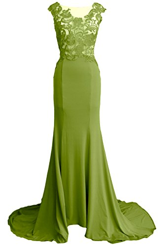 MACloth Women Mermaid Long Prom Dress 2017 Lace Jersey Formal Party Evening Gown Olive Green
