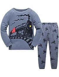 Popshion Boys Pyjamas for Boys Dinosaur Kid Pjs Christmas Toddler Clothes Rocket 100% Cotton Long Sleeve Nightwear Sleepwear Set UK Size 1 to 7 Years