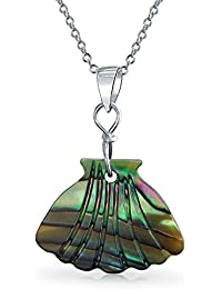 b044dbcf27d5 Concha de almeja tallada Colgante Nácar Rainbow Shell Inlay Collar de Plata  Esterlina
