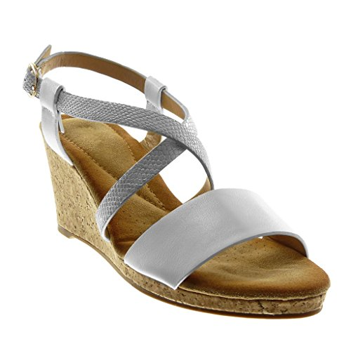 Angkorly Fashion Chaussures Mules Sandales Avec Bride À La Cheville Femme Multi-bride Snake Skin Cork Wedge Talon 7.5cm Blanc
