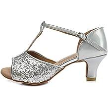HROYL Zapatos de baile/Zapatos latinos de satín mujeres ES7-F16