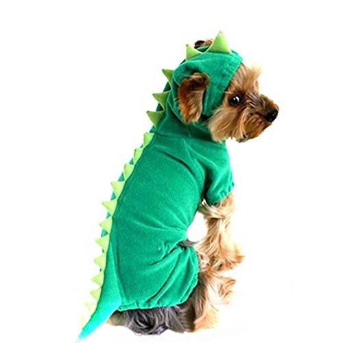 Grün Dinosaurier Kostüm Hunde - FanQube Pet Plüsch Outfit Dinosaurier Kostüm mit Kapuze für kleine Hunde & Katzen Spring Winter Overall Coat, L, grün