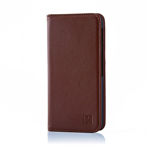32nd Klassische Series - Lederhülle Case Cover für BlackBerry DTEK60, Echtleder Hülle Entwurf gemacht Mit Kartensteckplatz, Magnetisch und Standfuß - Dunkelbraun