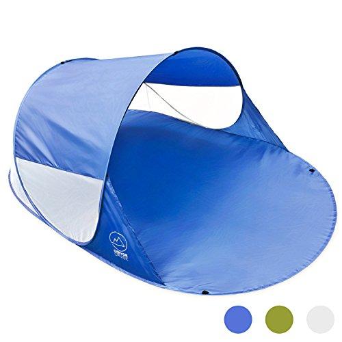 Goods & Gadgets Canyon Cruise Strandmuschel Pop-up Strand-Zelt, Blitzschnell & supereinfach, Selbstaufbauendes Wurfzelt 140 x 100 x 240 cm, Automatik Muschel mit UV-Sonnenschutz; Blau