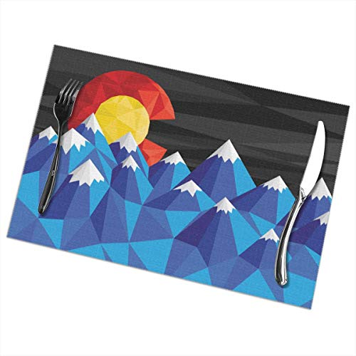 Dimension Art Colorado Flag Placemats Set of 6 for Dining Table Washable Polyester Placemat Non-Slip Wear and Heat Resistant Kitchen Table Mats Easy to Clean - Colorado Decals