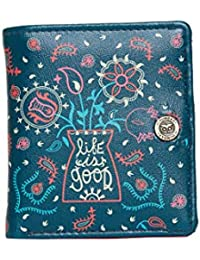 Chumbak Paisley Flowers Square Button Wallet - Teal