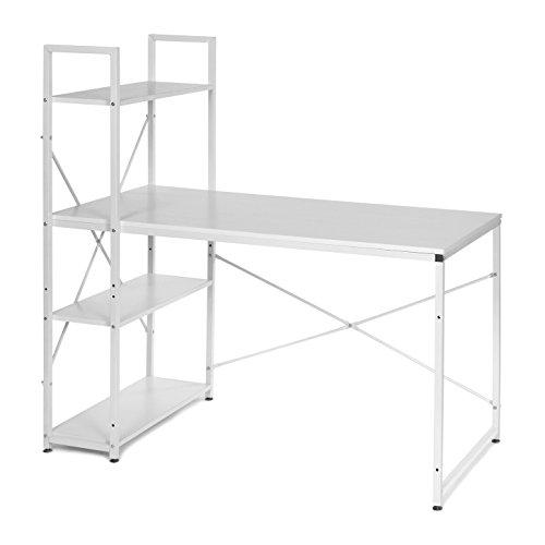 btisch Bürotisch Computertisch Arbeitstisch mit Regal Metallgestell Weiss ()