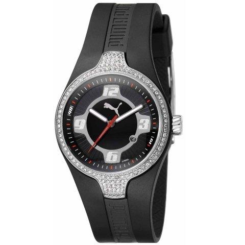 Puma - PU101942001 - Montre Mixte - Quartz Analogique - Cadran Argent - Bracelet Caoutchouc Noir