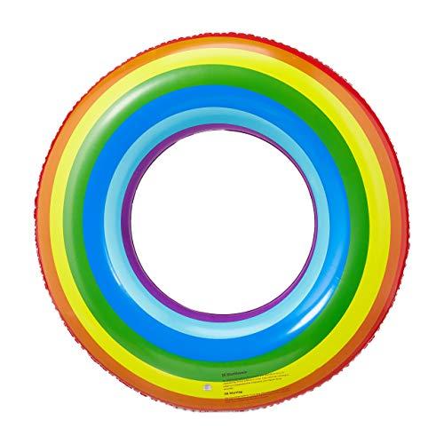 Relaxdays Schwimmring Regenbogen, aufblasbarer Schwimmreifen in buntem Design, für Kinder & Erwachsene, 72 cm Ø, bunt