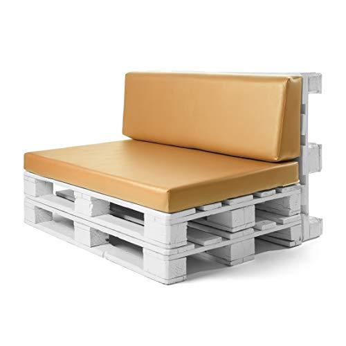Suenoszzz Palettenkissen und Rückenlehne, 1 x Kissen mit Schaumstoffpolsterung Poo Kissen für Chill-Out, innen und außen, Gartenmöbel-Sitzkissen Nicht enthalten Palet 120X80X10 cm Senf