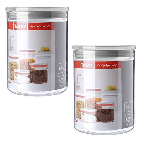 TATAY 1125201 - Set da 2 Barattoli Cucina Trasparente con Tappo di ...