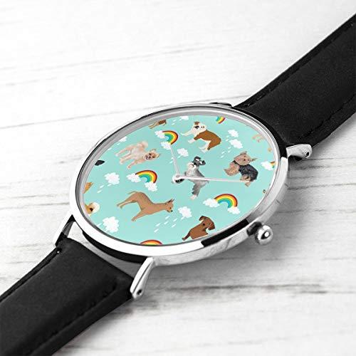 Men's Ultra Thin Fashion Minimalist Wrist Watches Rainbows and Mixed Breeds Kawaii Light Mint Waterproof Quartz Casual Watch Mens -