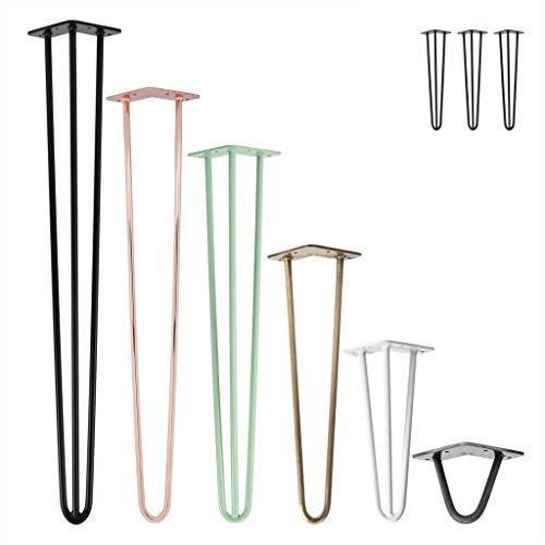 3x Natural Goods Berlin Hairpin Leg Tischbeine |12mm Stahl | viele Farben | alle Größen | 35cm/2 Streben (Antik Roségold)