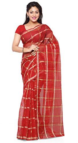 Rajnandini Women's Kota Doria Cotton Saree(JOPLSRS1075C_Red_Free Size)