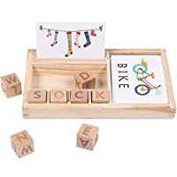 ForgetMe Wooden Puzzles for Kids, English Spelling Alphabet Letter Game, Early Learning Educational Toy, Kids Jigsaw Puzzle, Cube Blocks Storage Box, Wooden Mind Game Puzzles for Kids