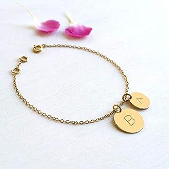 Personalisierte Goldarmband mit Zwei Initialen Scheiben, Hochzeitstaggeschenk, Muttertag geschenk, neues Muttergeschenk, Initialen Armband