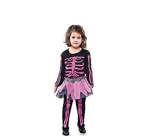 Fyasa 706229-t00esqueleto niña disfraz, rosa, pequeño