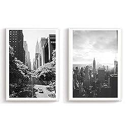 Flanacom Design Poster 2er Set A3 Schwarz Weiß - hochwertiger Kunstdruck auf Hochglanz Premiumpapier - Bilder Skandinavisch - Moderne Deko Wohnung - Motiv New York Straßen (27 x 42 cm) (ohne Rahmen)