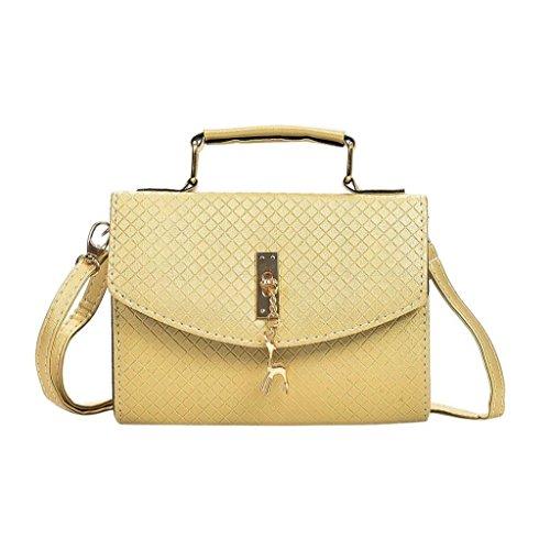 e Schultertasche Hirsch Anhänger Süß Hasp Bag Tote Damen Umhängetasche Damenhandtasche Beuteltote Schulterbeutel Cross-Body Taschen (Gelb) (Graue Tote Bag)