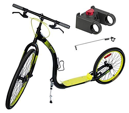 Tretroller Dogscooter Master 26/20 Zoll GLX schwarz-gelb - City Roller XL - Scooter inkl. Antenne für Leinenführung und Adapter